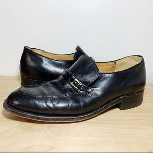 Leather Gold Buckle Detail Slip On Loafers
